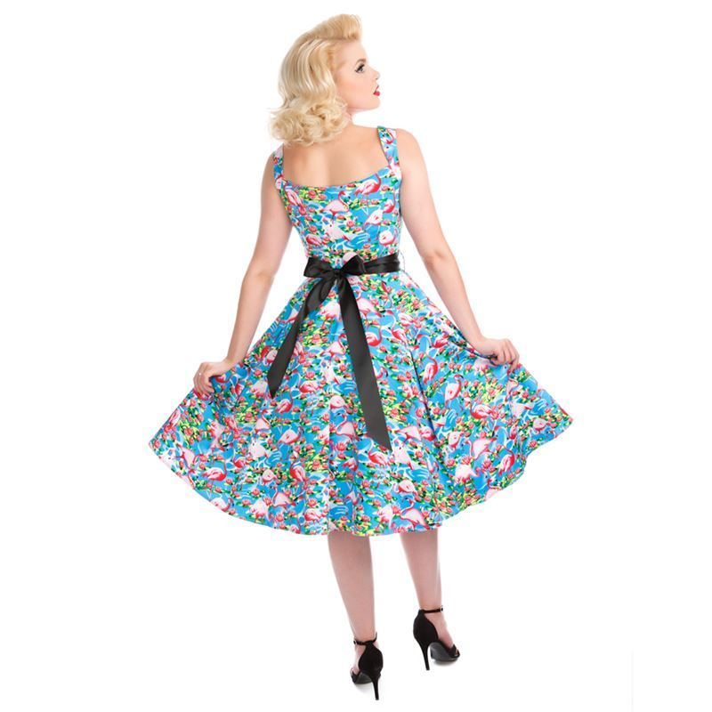 Hearts And Roses 50s Style Pretty Flamingo Swing Dress