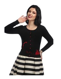 Collectif 50s Style Jo Telephone Black Cardigan