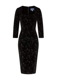 Collectif 40s Vanessa Make A Wish Black Pencil Dress