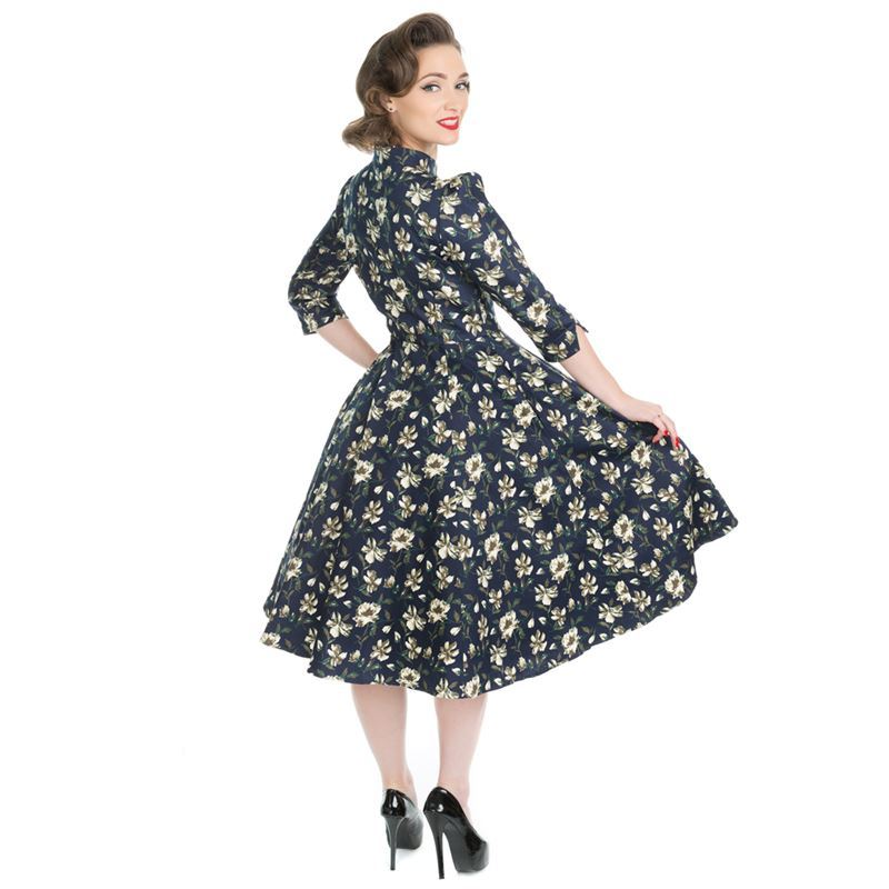 H&R London 50s Style Mixed Floral Lace Dress Blue