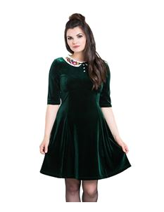 Hell Bunny Nicola Festive Xmas Green Velvet Mini Dress