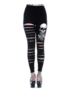 Banned Slashed Skull Ripped Alternative Black Leggings