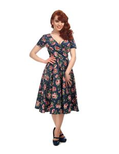 Collectif 50s Style Maria Bloom Floral Navy Blue Swing