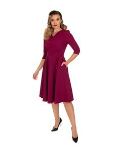 Hearts & Roses Pretty Plum 50s Swing Dress