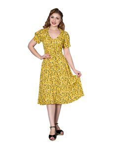 Sheen WW11 1940s Penelope Yellow Floral Tea Dress