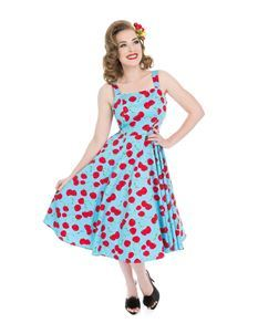 Hearts & Roses Martina 50s Blue Cherries Swing Dress