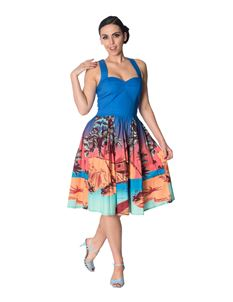 Banned Tropical Strappy Blue Beach Palm Tree Dress