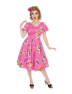 Hearts & Roses 50s Style J'adore Floral Pink Dress