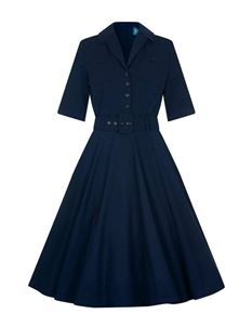 Collectif 40s & 50s Style Zoe Navy Blue Swing Dress