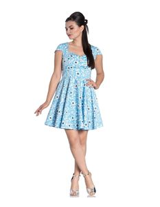 Hell Bunny Daphne Floral Summer Mini Blue Dress