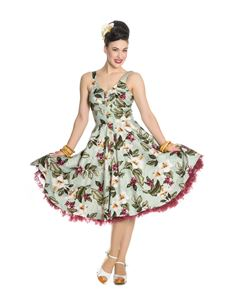 Hell Bunny Tahiti 50s Tropical Floral Button Dress