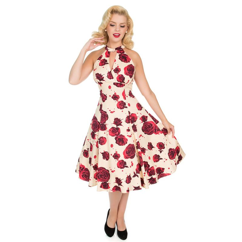 a9543188974 Hearts   Roses 50s Cream Red Lucinda Roses Dress