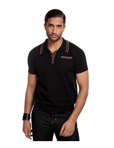 Collectif Men's Pablo Black Plain Knitted Polo Shirt