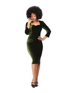 Collectif Velvet Green Pencil Dress