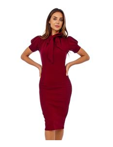 Bettie Vintage Wine Bodycon Pencil Dress with Tie Neck