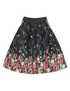 Lindy Bop Daniella Black Floral Border Swing Skirt