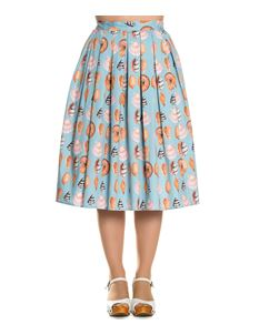 Hell Bunny 50s Maya Bay Seashells Rockabilly Skirt Blue