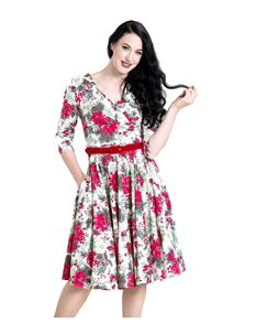 Hell Bunny Jennie Xmas Red Floral 50s Christmas Dress