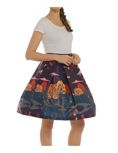 Lindy Bop Marie Purple Autumn Print Swing Skirt