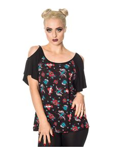 Banned Phantom Tattoo Swallow Alternative Cut Out Top