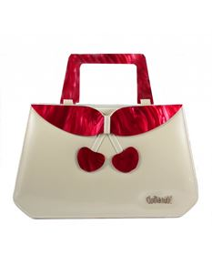 Collectif Debbie Patent Lucite 50s Style Ivory Cherry Bag