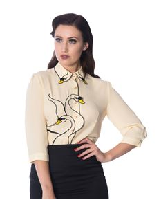 Dancing Days- Banned Beige Swan Lake Embroidered Blouse