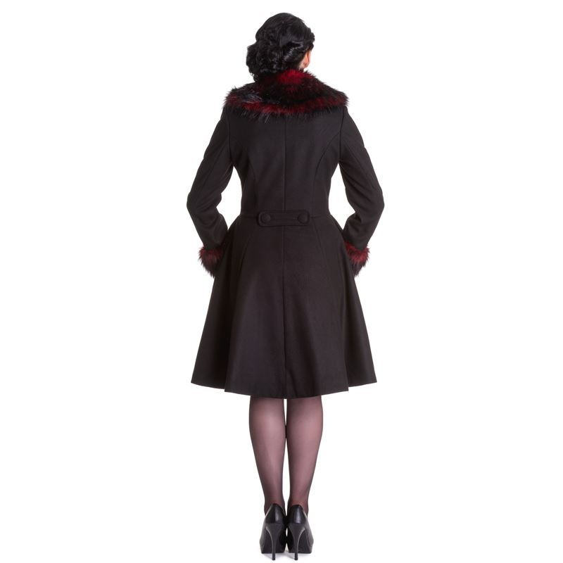 Hell Bunny Rock Noir Faux Fur Collar Coat Black Red