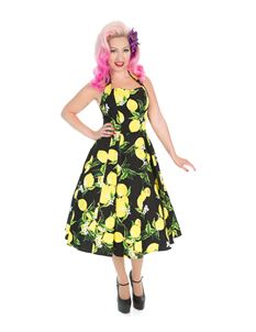 Hearts & Roses Lemon Print Swing Dress
