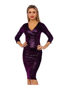 Bettie Vintage 50's Mori Sequin Pencil Purple Dress