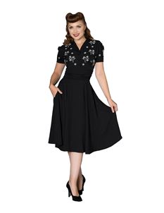Sheen Sadie 1940s WW11 Style Black Evening Dress