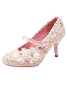 Joe Browns Couture Louisa Pale Pink Floral Lace Shoes