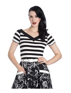 Hell Bunny Caitlin 50s Black Off-White Striped Top