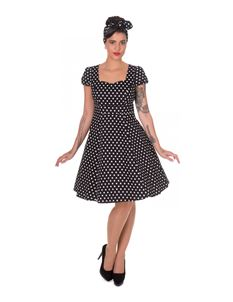 Claudia Flirty 50s Style Black White Polka Dot Dress