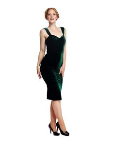 Collectif Andromeda Green Velvet Evening Pencil Dress