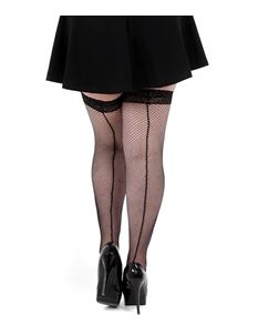 Pamela Mann Seamed Fishnet Lace Top Hold Ups Plus Size