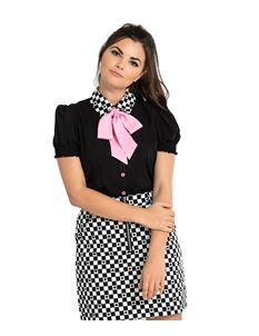 Hell Bunny Pokerface Removable Bow Blouse Top