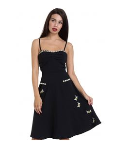 Voodoo Vixen Bee Black Flared Summer Dress