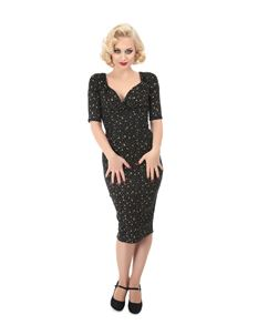 Collectif Trixie 50s Style Atomic Star Black And Gold Pencil Dress