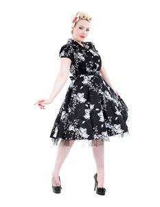 Hearts & Roses 50's Imitation Black White Floral Dress