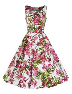 Hearts & Roses White Pink Sleeveless Floral Dress
