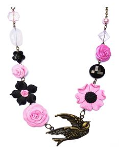 Guns N Posies Swallow & Flowers Necklace