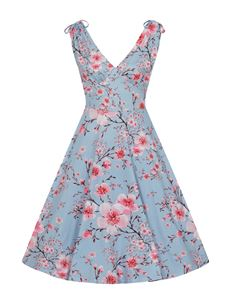 Hell Bunny Angela Floral Summer Blue Dress