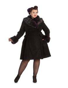 Hell Bunny Rock Noir Faux Black/Purple Fur Coat