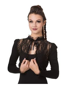Banned Lace Gothic Bolero Shrug Black And Burgundy