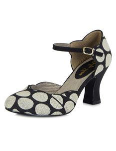 Ruby Shoo Annabel Black Spots Ankle Strap Shoes Heels