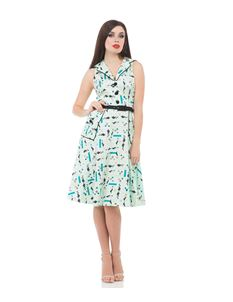Voodoo Vixen Sheila Retro Kitty Mint Green Flared Dress