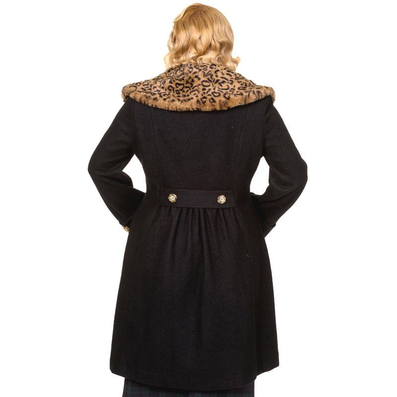 BANNED VINTAGE style LEOPARD collar COAT wool mix BLACK