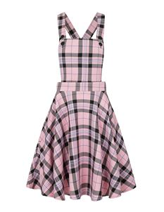 Hell Bunny Dalston Tartan Check Mini Pinafore Dress