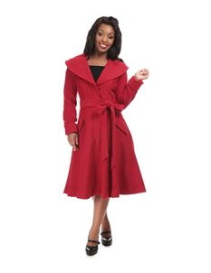 Collectif 40s 50s Style Red Christelle Swing Coat