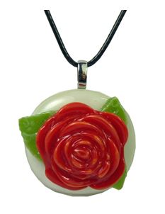 Rowanberry Designs Red & Cream Rose Glass Pendant